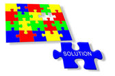 Colorful jigsaw puzzle Solution — Stock Photo
