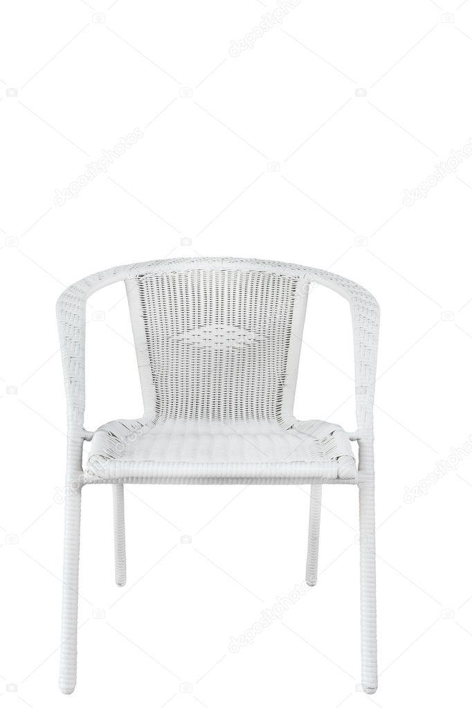 Chaise chaise en plastique en osier blanc photographie for Petite chaise en osier