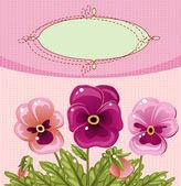 Vintage card with a flower — ストックベクタ