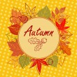 Autumn square postcard — Stock Vector