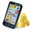 Royalty-Free Stock Obraz wektorowy: Smart phone and coins illustration