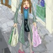 Stok fotoğraf: Shopping in rain illustration