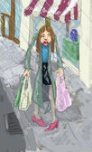 Shopping in the rain illustration — 图库照片