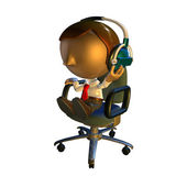 3d business man character sitting in a chair with headphones — Stock Photo