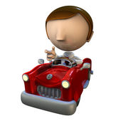 3d business man character in a red car — Stock Photo