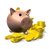 3d render piggy bank and coins illustration — Stock Photo