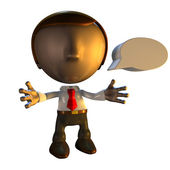 3d business man character with speech bubble — Stock Photo
