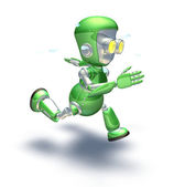 Cute green metal robot character running a sprint — Stock Photo