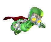 Cute green metal robot superhero character — Stock Photo