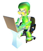 3d cute green robot character using laptop pc — Stock Photo