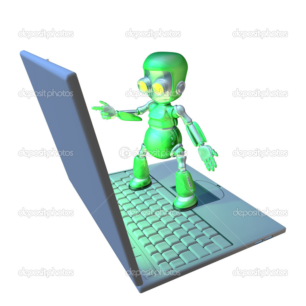 Cute shiny 3d robot character using a giant laptop pointing at the screen.  Stock Photo #6578570