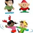 Stock Vector: Christmas elves and pixies