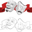 Stock Vector: Theatre comedy and tragedy masks
