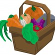 Vegetables and produce in basket - Stock Vector