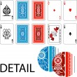 Aces, joker and playing card backs Playing cards — Vector de stock