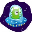 Alien in spaceship — Stock Vector