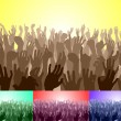 Stock Vector: Crowd with their hands up