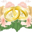 Wedding designg intertwined wedding rings and hibiscus - Stock Vector