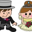 Stock Vector: Bride and groom characters
