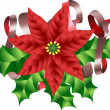 Christmas Poinsettia Holly and Ribbon Motif - Stock Vector