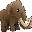 Cute woolly mammoth illustration — Stock Vector