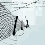 ogrodzenia ogniwa łańcucha i kolczasty drut ilustracja wektorowa — Wektor stockowy