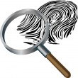 Spyglass and fingerprint - Stock Vector
