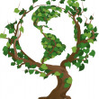 Green world tree vector illustration — ストックベクタ