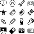 Icon set relating to computer applications - Imagens vectoriais em stock