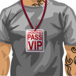 Illustration of man wearing VIP badge - Stock Vector