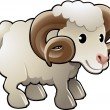 ストックベクタ: Cute Ram Sheep Farm Animal Vector Illustration