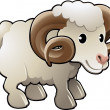Vector de stock : Cute Ram Sheep Farm Animal Vector Illustration