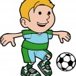 Illustration of boy playing soccer — Stock Vector