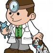 Illustration of veterinarian with animals — Stockvectorbeeld