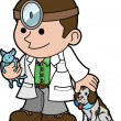 Illustration of veterinarian with animals — Stok Vektör