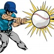 Постер, плакат: Illustration of baseball player hitting baseball