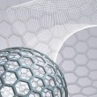 Abstract background with buckyball — Stockvectorbeeld