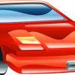 Glossy stylised sports car icon - Stock Vector
