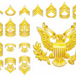American army enlisted rank insignia icons - Stock Vector