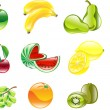 Stock Vector: Gorgeous shiny fruit icon set