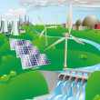 Electricity power generation illustration — Stockvectorbeeld