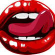 Licking sexy red lips illustration - Stock Vector