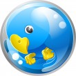 Blue bird twitter ing icon — Stockvectorbeeld
