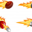 Glossy shiny flame sport icons — Stock Vector