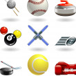 Shiny sports icon set series - Stock Vector