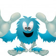 Cute friendly furry blue monster — Stock Vector