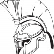 Illustration of Spartan roman greek trojan or gladiator helmet — Stock Vector