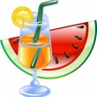 Summer cocktail and watermelon — Stock Vector