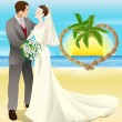 Stock Vector: Tropical destination beach wedding