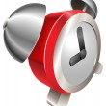 Bight red shiny alarm clock — Stock Vector